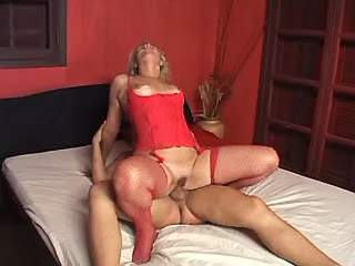 Blonde gets cum by horny shemale