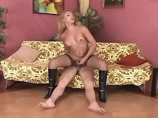 Blonde shemale cums after anal fuck