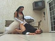 Shemale bride taking the most from her well-hung body just after wedding