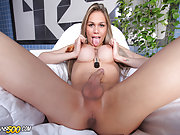 Gorgeous Gabi Abelha plays with her shecock and stuffs her tranny ass!