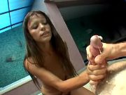 Teen shemale in boots gets cumload
