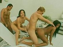 Beauty shemales enjoying crazy orgy