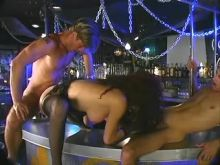 Horny shemale double fucked in bar