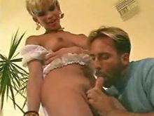Excellent blonde tranny seduces guy