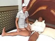Wild shemale nurse sucks and fucks