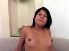 Young playful latina TS cum sprayed