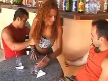 Lustful trans waitress in threesome