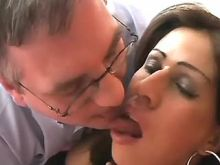 Sweet brunette shemale enjoys oral