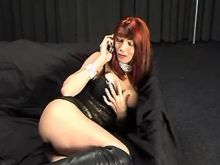 Vamp tranny in high boots makes sex