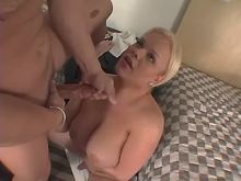 Busty shemale fucks man and gets jizz
