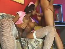 Black tranny nurse sucks after fuck