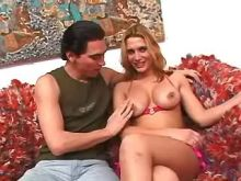 Nice shemale with big tits seduces guy